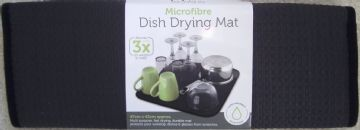 BLACK Microfibre Dish Drying Mat 42x47cm Sink Drainer Washing Up